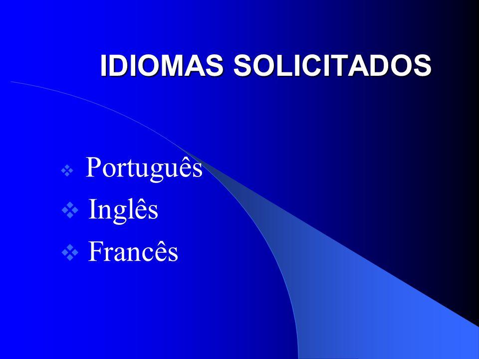 Português Inglês Francês