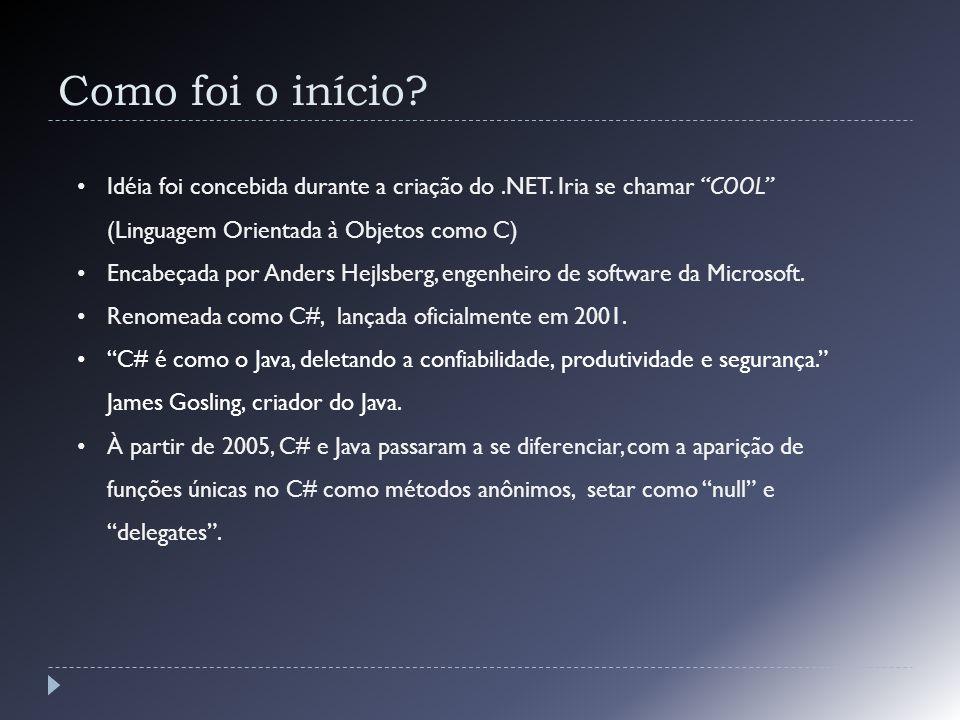 Como foi o início Idéia foi concebida durante a criação do .NET. Iria se chamar COOL (Linguagem Orientada à Objetos como C)