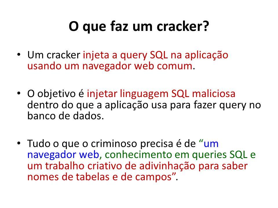 O que faz um cracker Um cracker injeta a query SQL na aplicação usando um navegador web comum.
