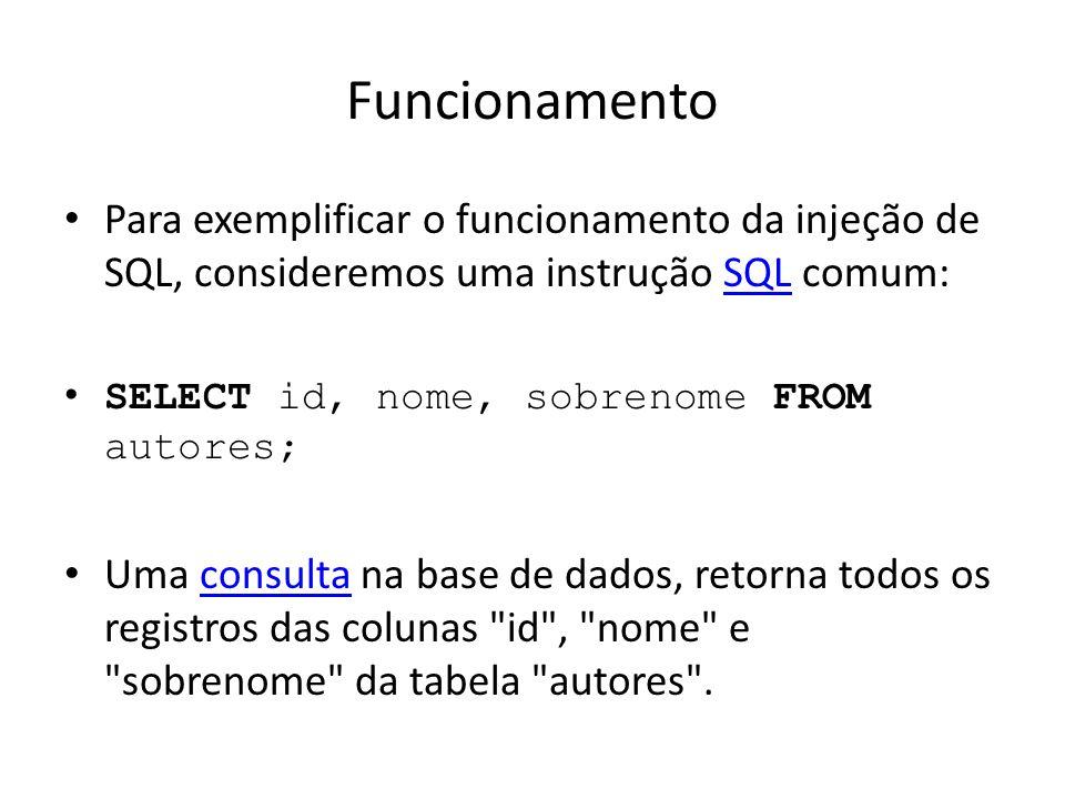 Funcionamento Para exemplificar o funcionamento da injeção de SQL, consideremos uma instrução SQL comum: