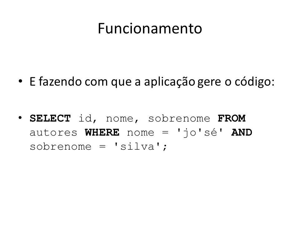 Funcionamento E fazendo com que a aplicação gere o código: