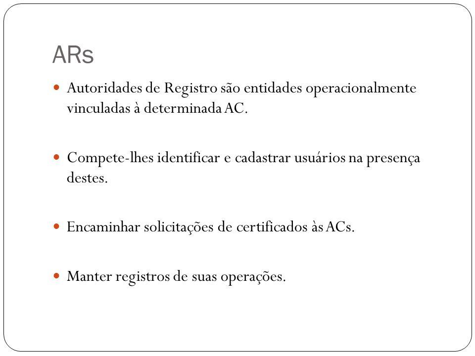 ARs Autoridades de Registro são entidades operacionalmente vinculadas à determinada AC.