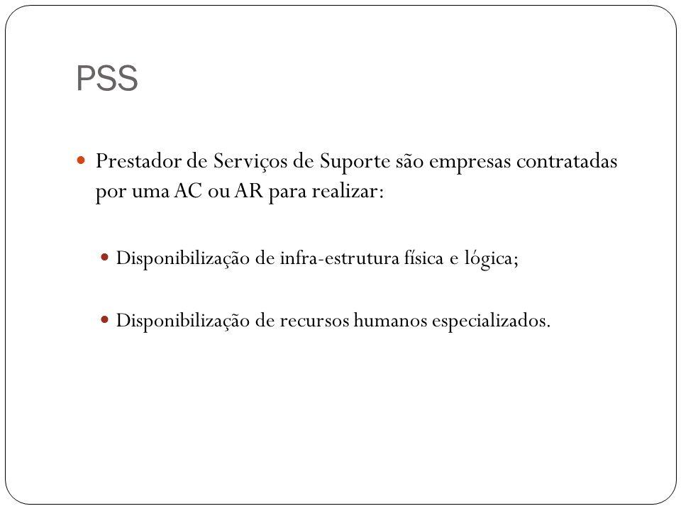 PSS Prestador de Serviços de Suporte são empresas contratadas por uma AC ou AR para realizar: Disponibilização de infra-estrutura física e lógica;