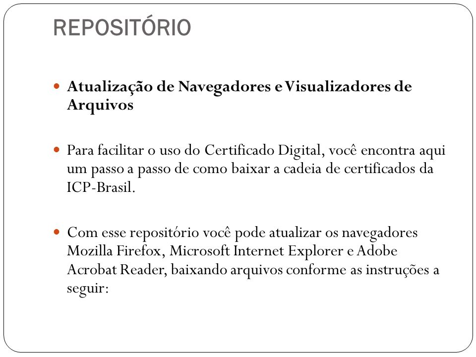 REPOSITÓRIO Atualização de Navegadores e Visualizadores de Arquivos