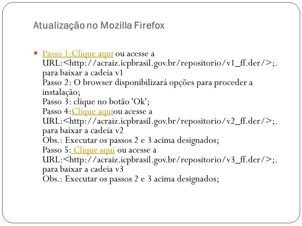 Atualização no Mozilla Firefox