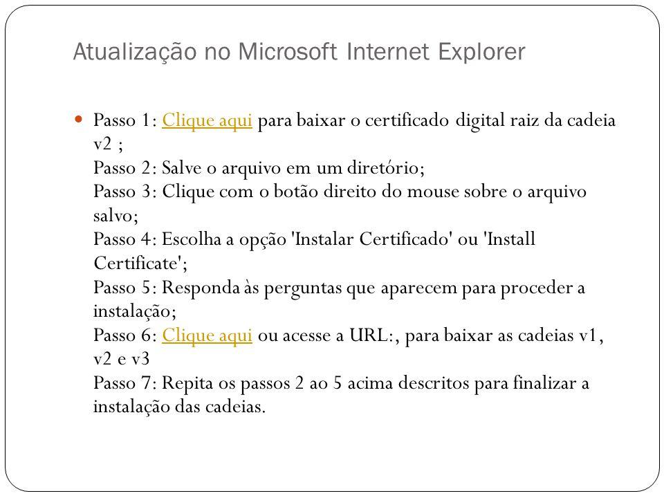 Atualização no Microsoft Internet Explorer