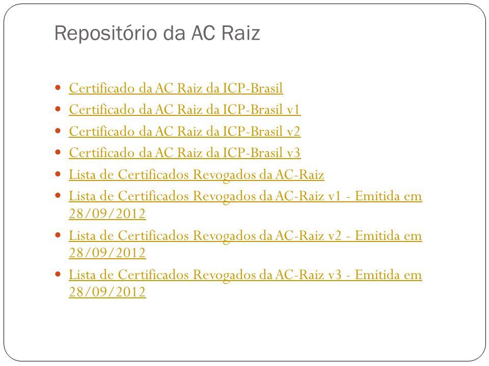 Repositório da AC Raiz Certificado da AC Raiz da ICP-Brasil