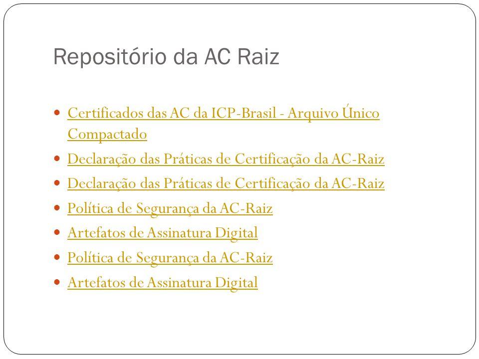 Repositório da AC Raiz Certificados das AC da ICP-Brasil - Arquivo Único Compactado Declaração das Práticas de Certificação da AC-Raiz