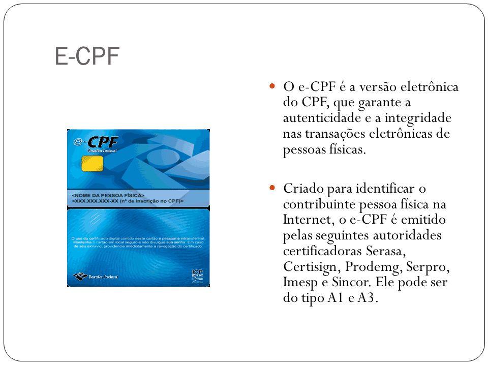 E-CPF O e-CPF é a versão eletrônica do CPF, que garante a autenticidade e a integridade nas transações eletrônicas de pessoas físicas.
