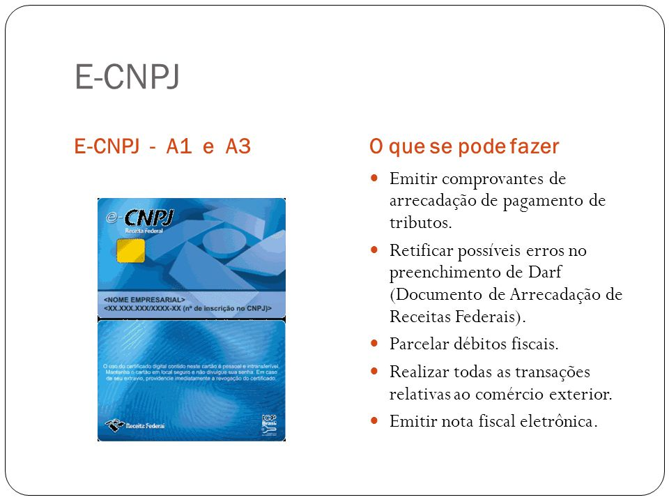 E-CNPJ E-CNPJ - A1 e A3 O que se pode fazer