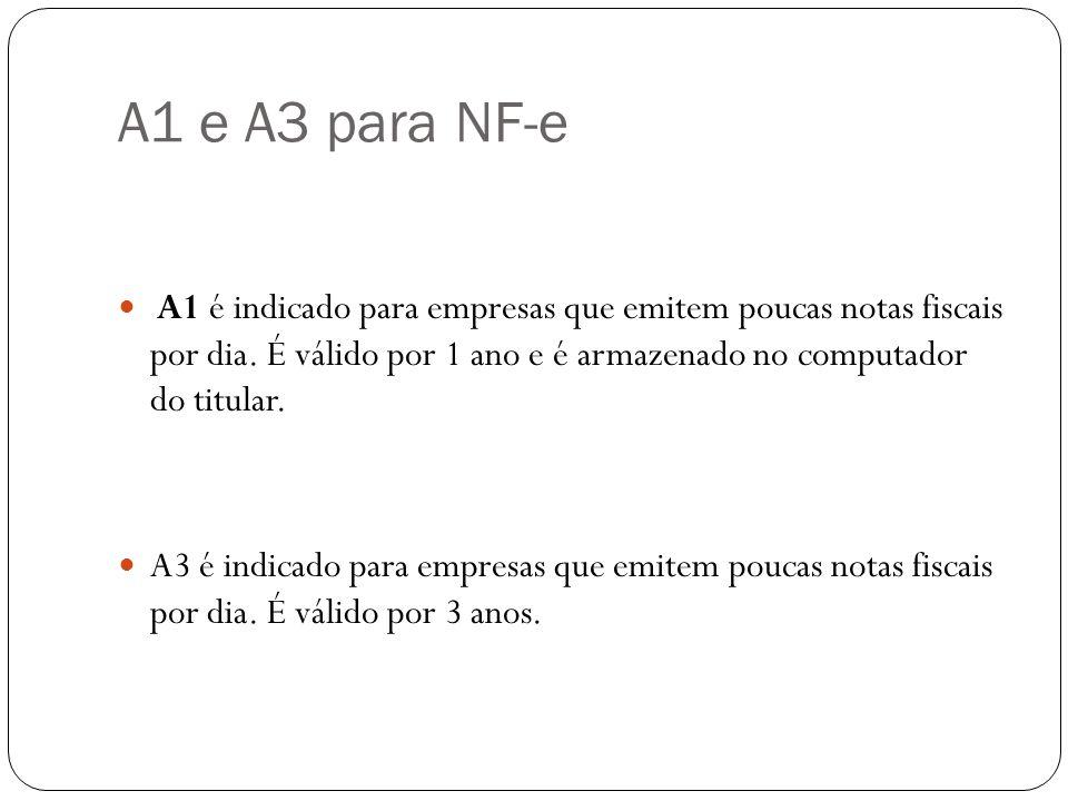 A1 e A3 para NF-e A1 é indicado para empresas que emitem poucas notas fiscais por dia. É válido por 1 ano e é armazenado no computador do titular.