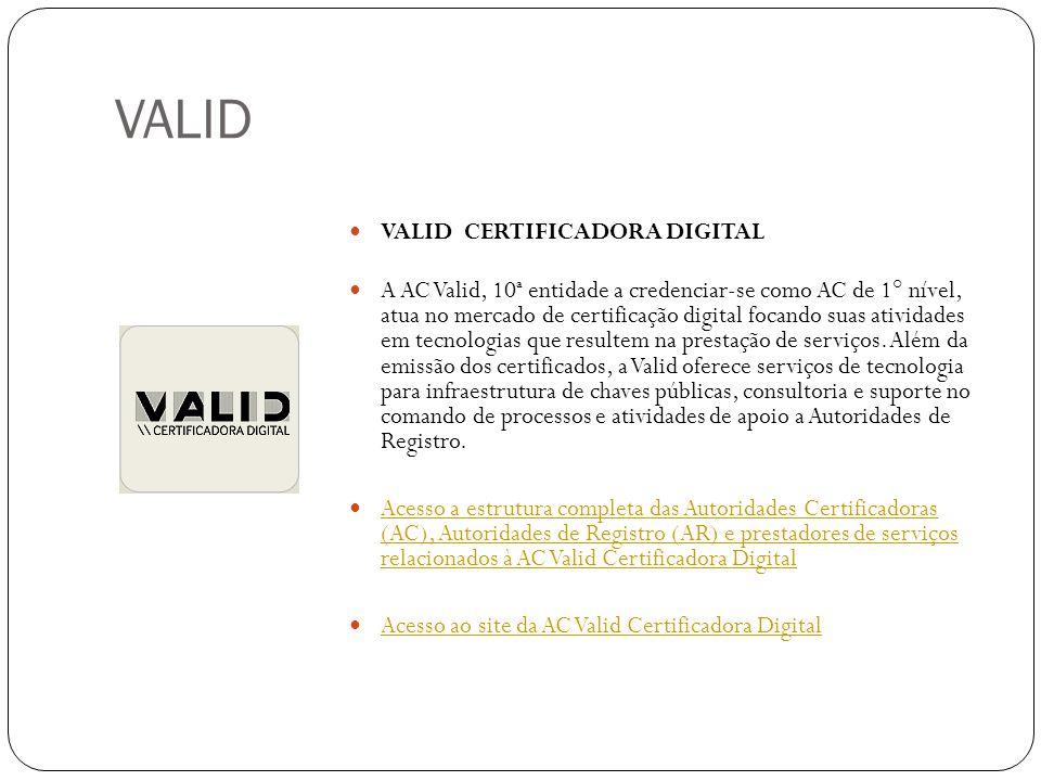VALID VALID CERTIFICADORA DIGITAL