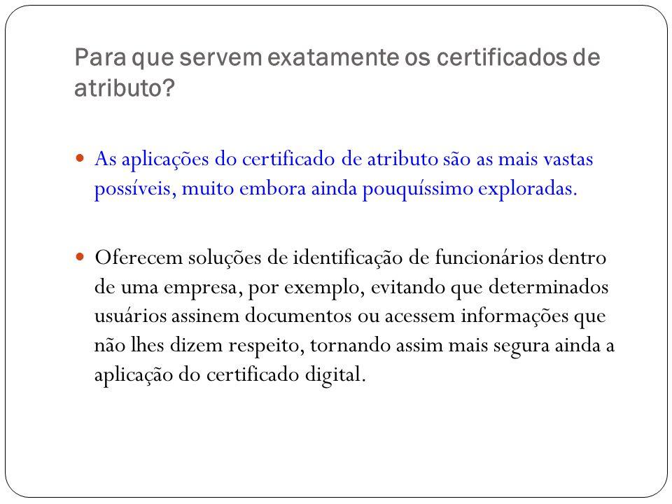 Para que servem exatamente os certificados de atributo