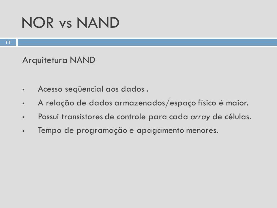 NOR vs NAND Arquitetura NAND Acesso seqüencial aos dados .