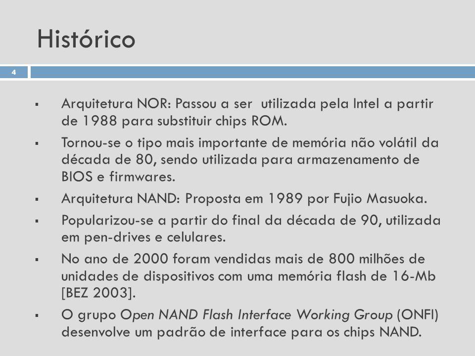 Histórico Arquitetura NOR: Passou a ser utilizada pela Intel a partir de 1988 para substituir chips ROM.