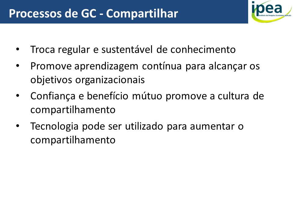 Processos de GC - Compartilhar