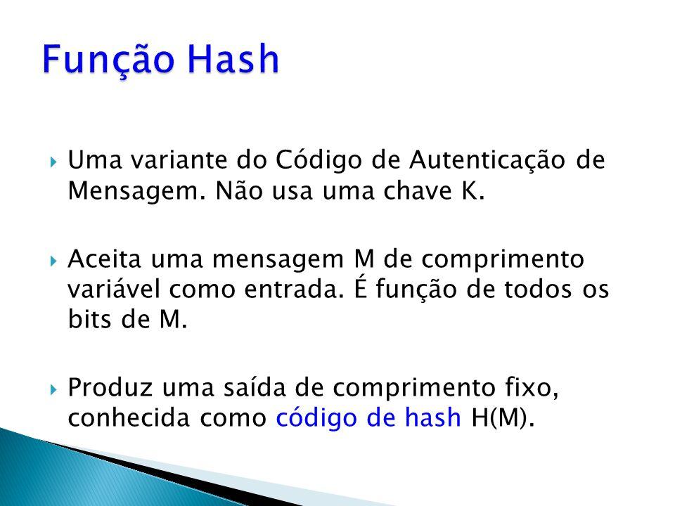 Função Hash Uma variante do Código de Autenticação de Mensagem. Não usa uma chave K.
