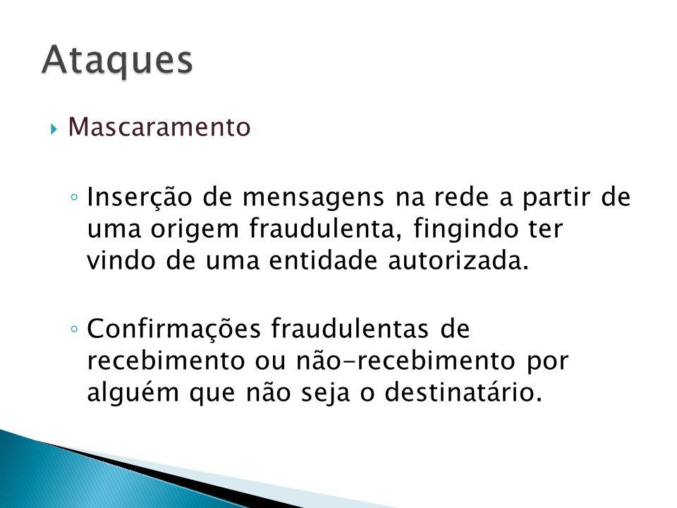 Ataques Mascaramento. Inserção de mensagens na rede a partir de uma origem fraudulenta, fingindo ter vindo de uma entidade autorizada.