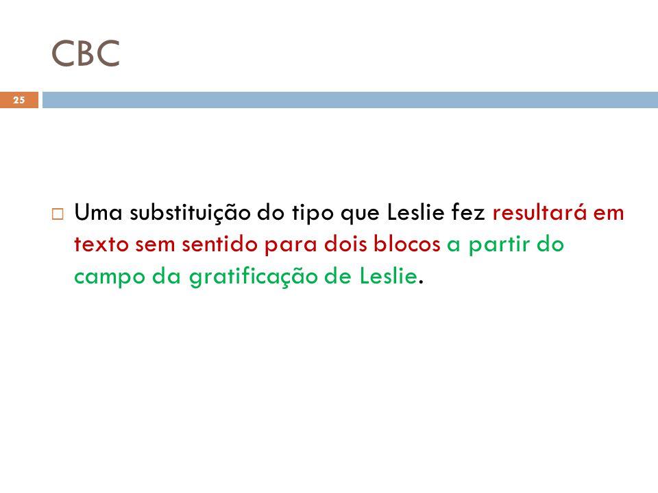 CBC Uma substituição do tipo que Leslie fez resultará em texto sem sentido para dois blocos a partir do campo da gratificação de Leslie.