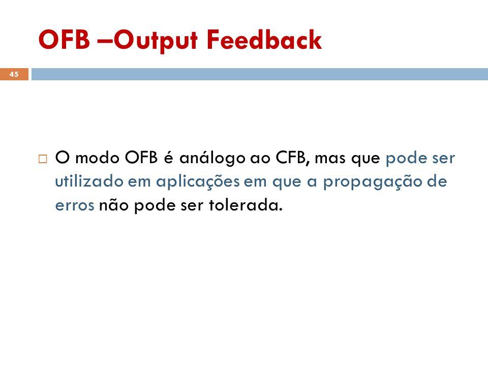 OFB –Output Feedback O modo OFB é análogo ao CFB, mas que pode ser utilizado em aplicações em que a propagação de erros não pode ser tolerada.