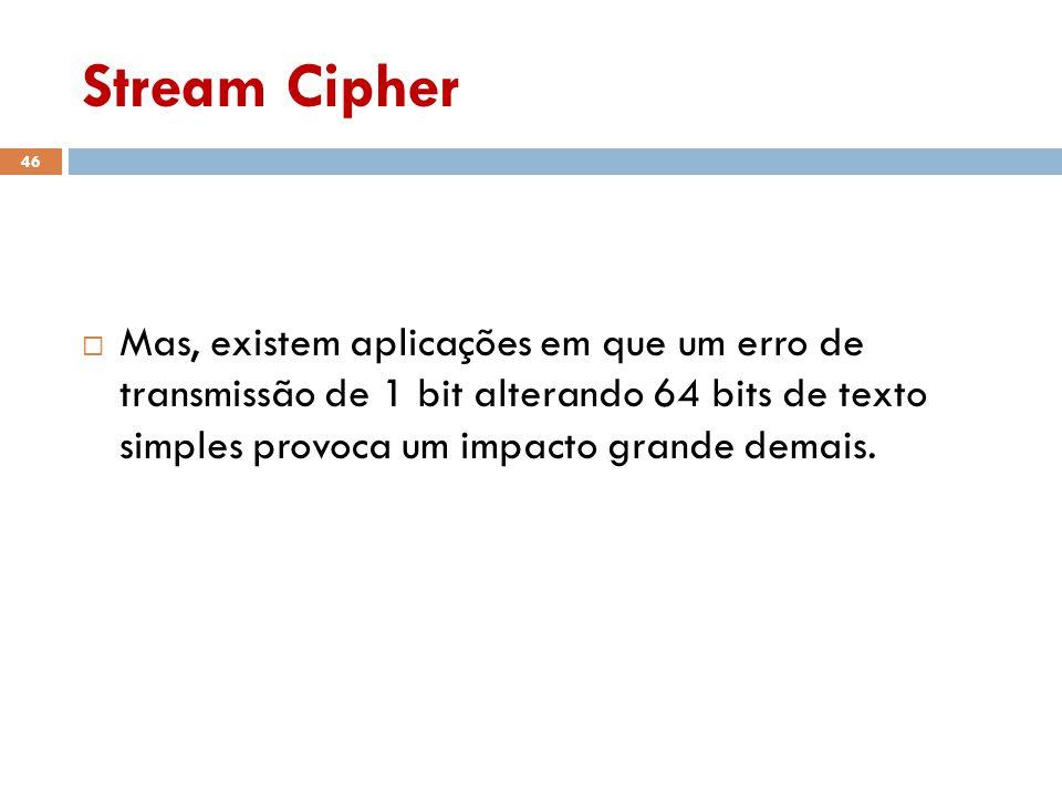 Stream Cipher Mas, existem aplicações em que um erro de transmissão de 1 bit alterando 64 bits de texto simples provoca um impacto grande demais.