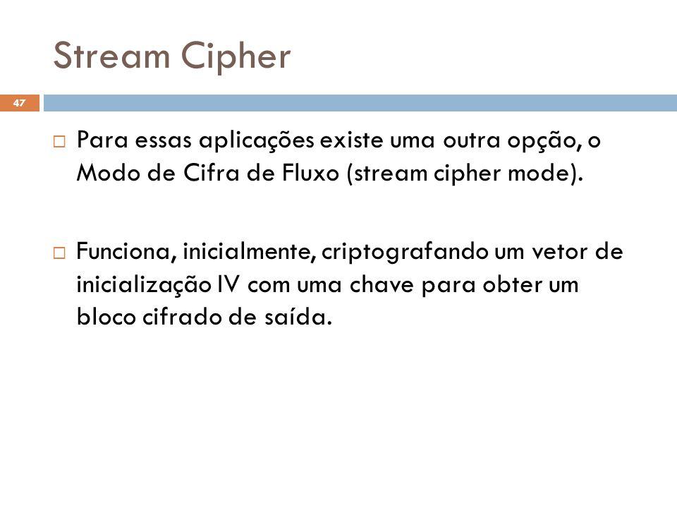 Stream Cipher Para essas aplicações existe uma outra opção, o Modo de Cifra de Fluxo (stream cipher mode).