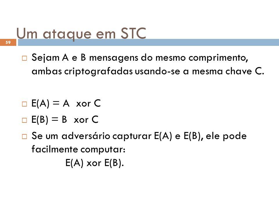 Um ataque em STC Sejam A e B mensagens do mesmo comprimento, ambas criptografadas usando-se a mesma chave C.
