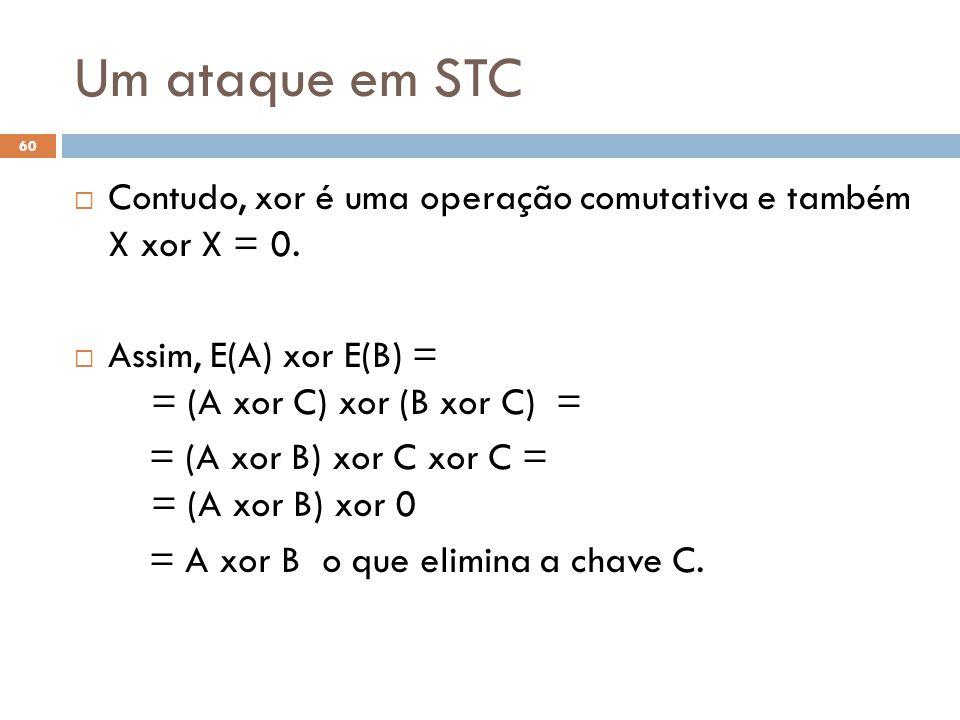 Um ataque em STC Contudo, xor é uma operação comutativa e também X xor X = 0. Assim, E(A) xor E(B) = = (A xor C) xor (B xor C) =