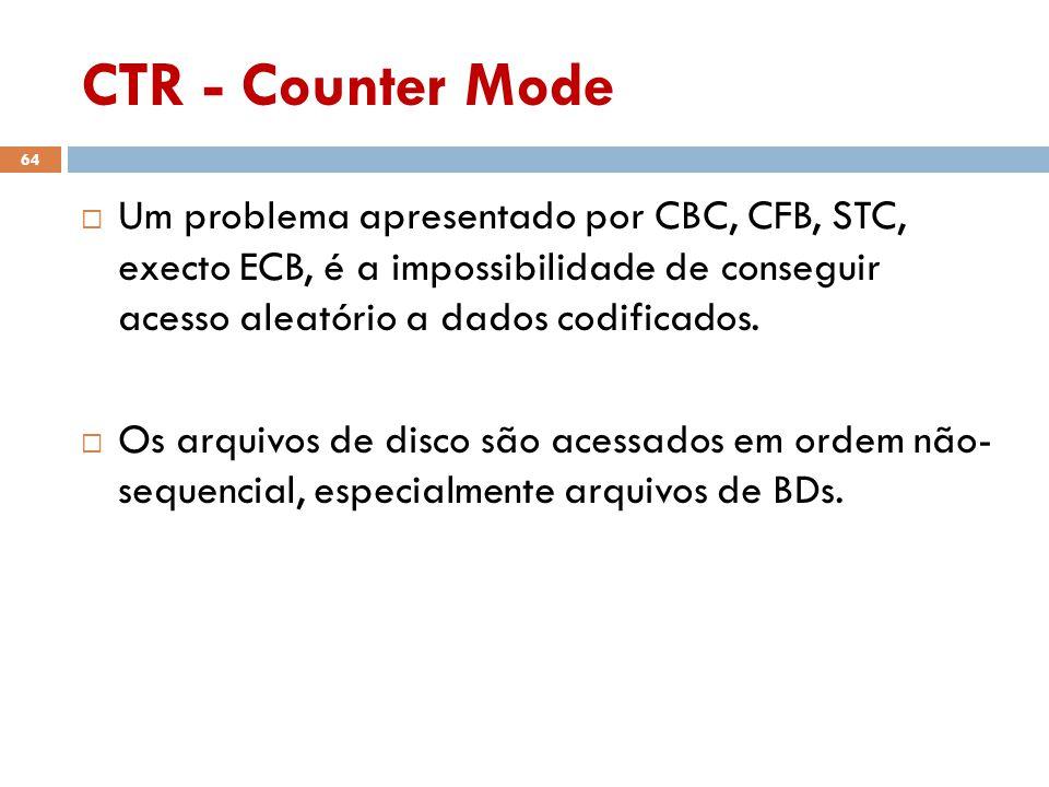 CTR - Counter Mode Um problema apresentado por CBC, CFB, STC, execto ECB, é a impossibilidade de conseguir acesso aleatório a dados codificados.