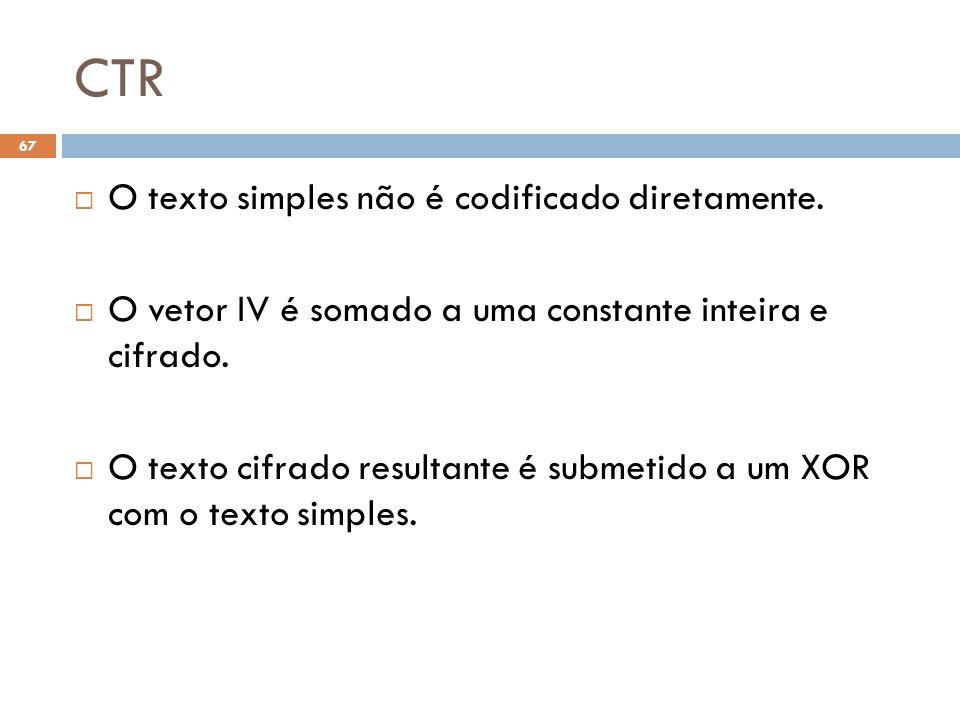 CTR O texto simples não é codificado diretamente.