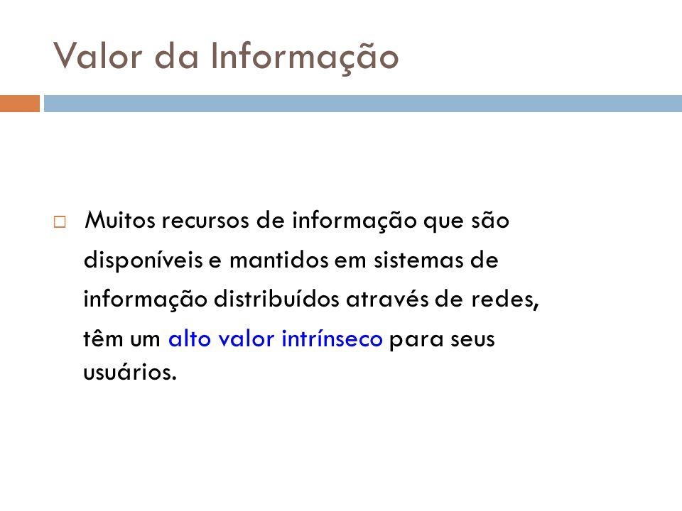 Valor da Informação Muitos recursos de informação que são