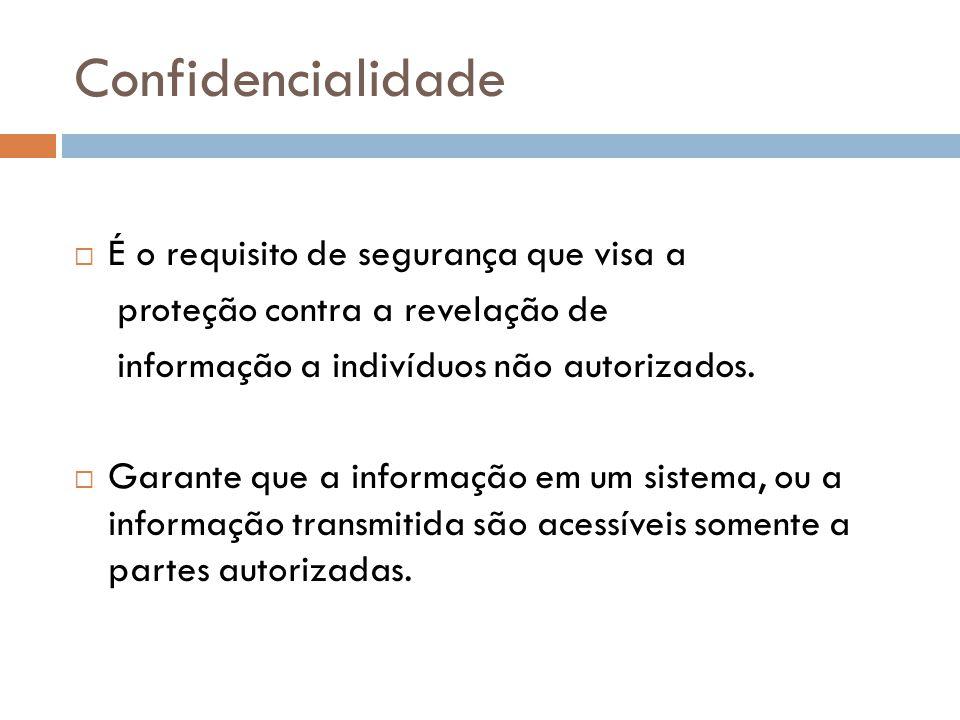 Confidencialidade É o requisito de segurança que visa a