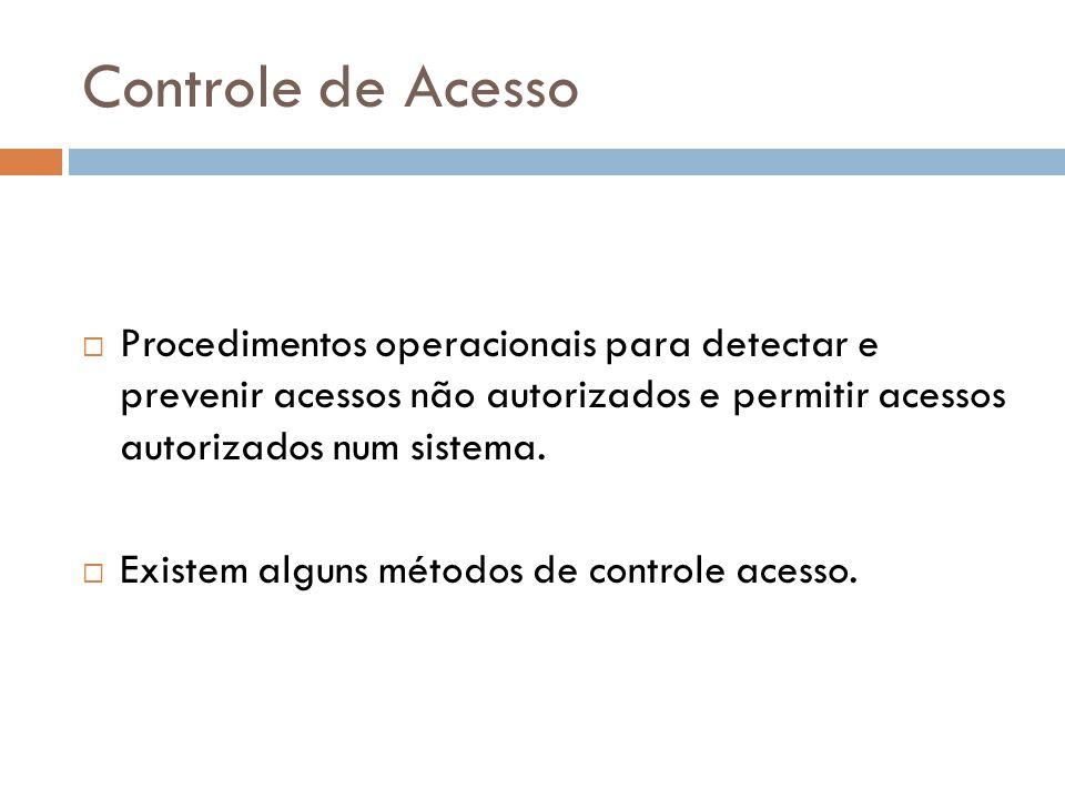 Controle de Acesso Procedimentos operacionais para detectar e prevenir acessos não autorizados e permitir acessos autorizados num sistema.