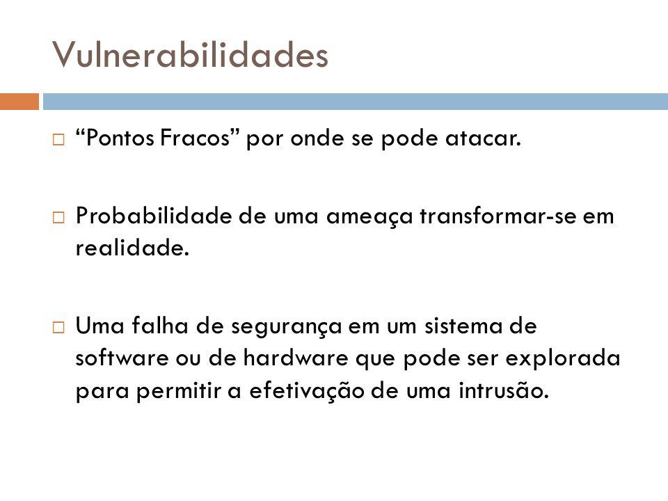 Vulnerabilidades Pontos Fracos por onde se pode atacar.