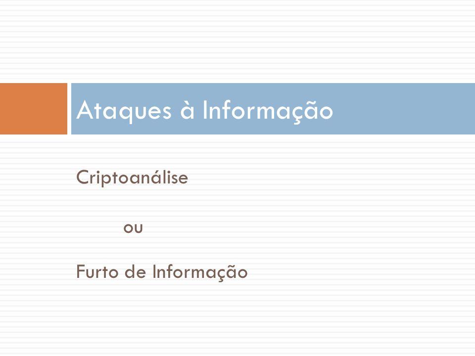 Ataques à Informação Criptoanálise ou Furto de Informação