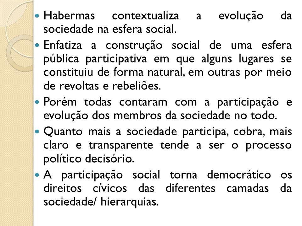Habermas contextualiza a evolução da sociedade na esfera social.
