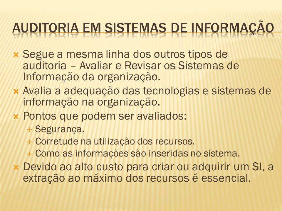 AUDITORIA EM SISTEMAS DE INFORMAÇÃO