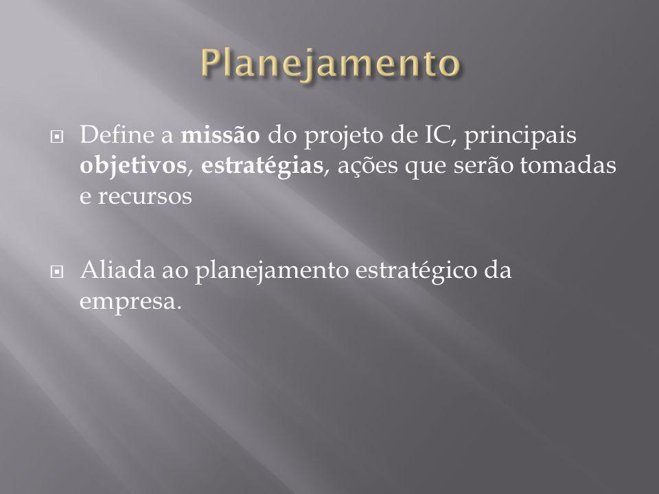 Planejamento Define a missão do projeto de IC, principais objetivos, estratégias, ações que serão tomadas e recursos.