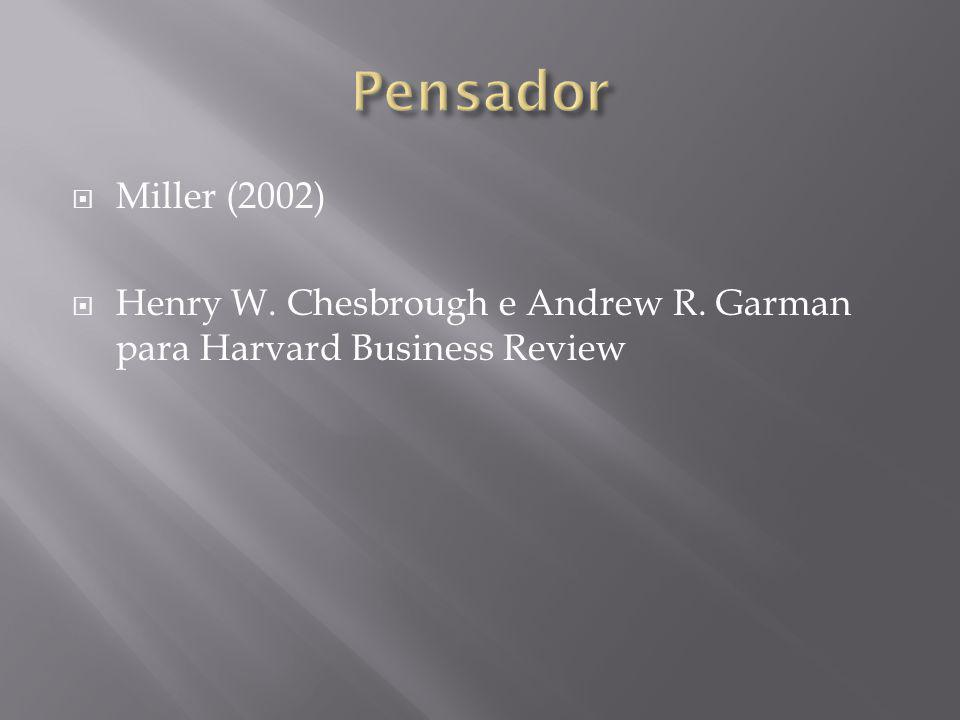 Pensador Miller (2002) Henry W. Chesbrough e Andrew R. Garman para Harvard Business Review