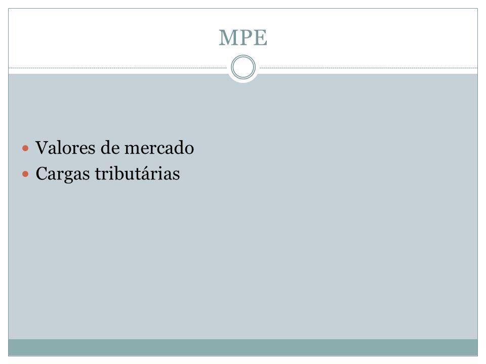 MPE Valores de mercado Cargas tributárias