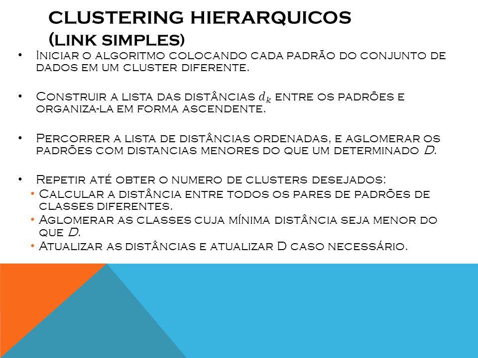 CLUSTERING HIERARQUICOS (Link simples)