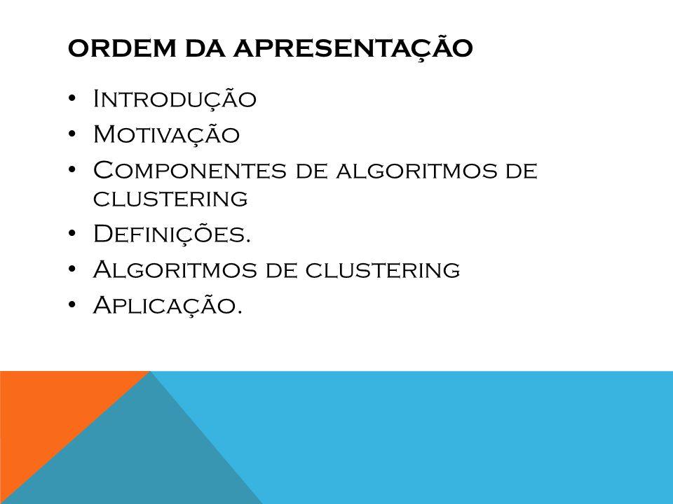 Ordem da apresentação Introdução. Motivação. Componentes de algoritmos de clustering. Definições.
