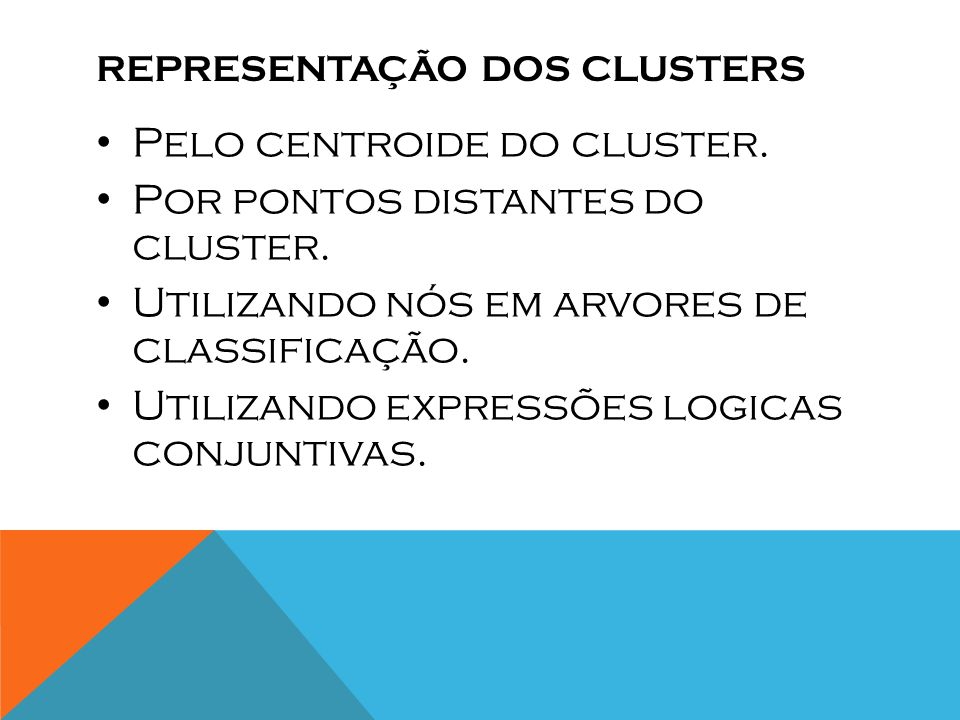 Representação dos clusters