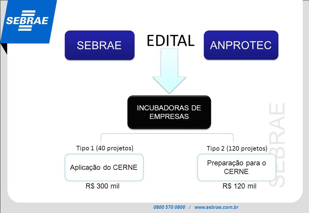 EDITAL SEBRAE ANPROTEC INCUBADORAS DE EMPRESAS Tipo 1 (40 projetos)