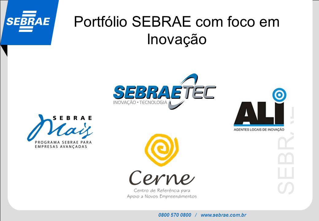 Portfólio SEBRAE com foco em Inovação