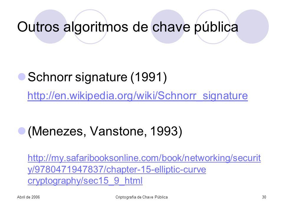 Outros algoritmos de chave pública