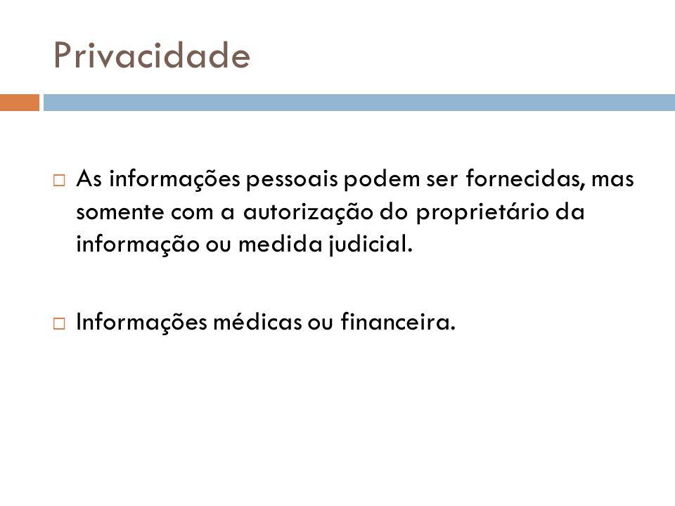 Privacidade As informações pessoais podem ser fornecidas, mas somente com a autorização do proprietário da informação ou medida judicial.