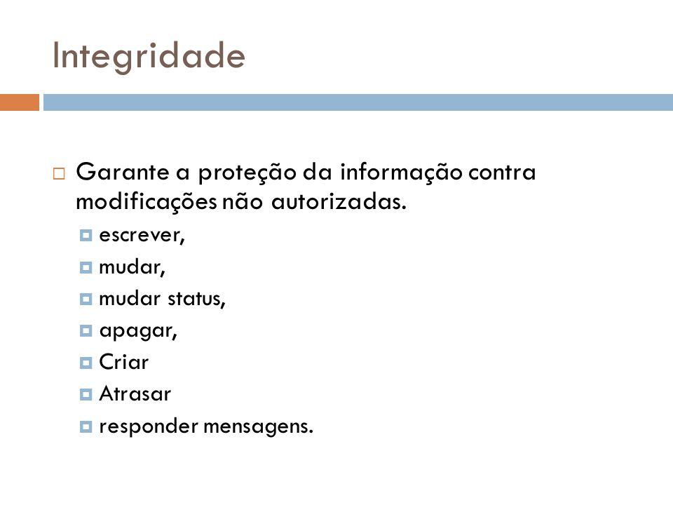 Integridade Garante a proteção da informação contra modificações não autorizadas. escrever, mudar,
