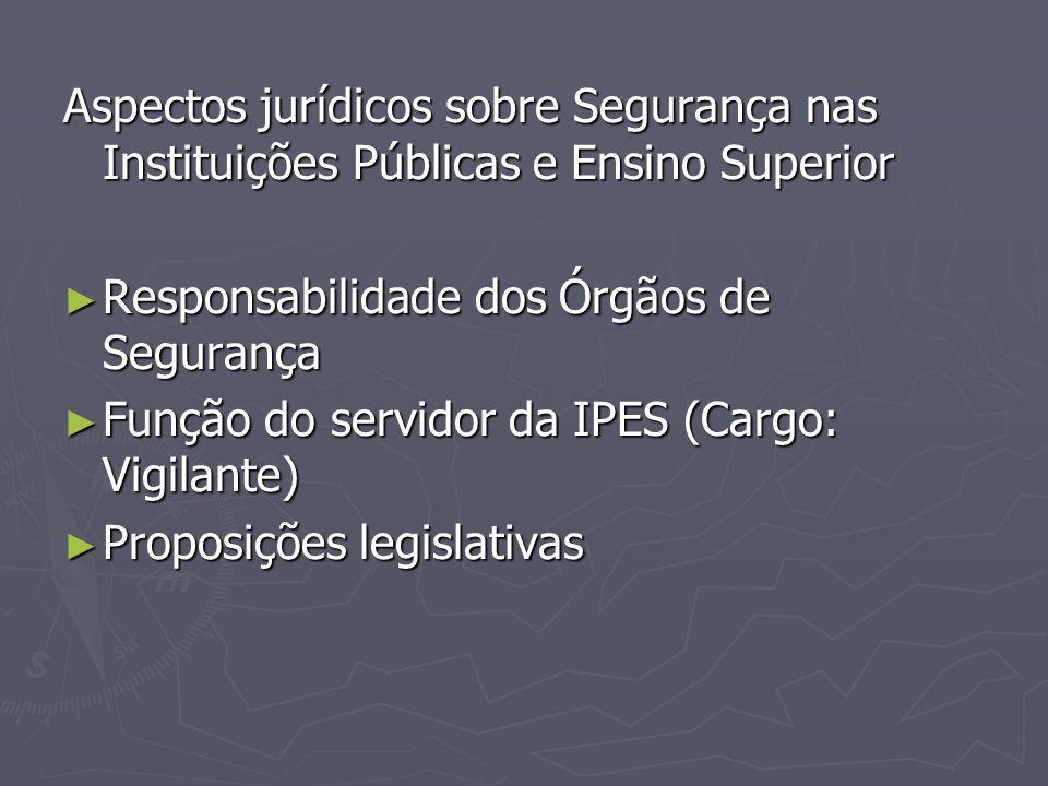 Aspectos jurídicos sobre Segurança nas Instituições Públicas e Ensino Superior