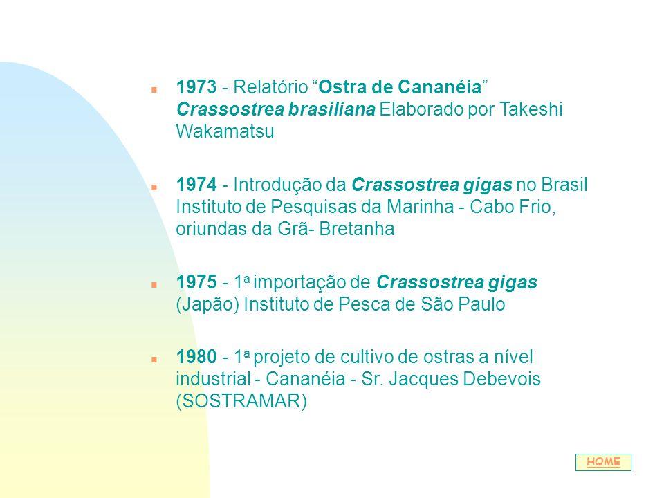 01/04/2017 1973 - Relatório Ostra de Cananéia Crassostrea brasiliana Elaborado por Takeshi Wakamatsu.
